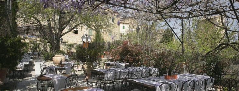 Trattoria Osenna: storia e pici a San Quirico D'Orcia. Vista del giardino con Glicini secolari.