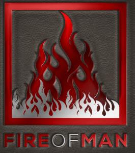 Logo di Fire of Man con fiamme che salgono verso l'alto.