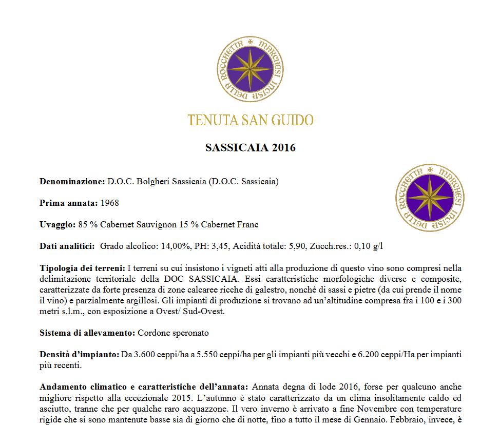 sassicaia 2016: estratto del PDF informativo ufficiale della Tenuta San Guido.
