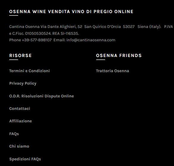 link affiliati osenna wine posizionato nel Footer